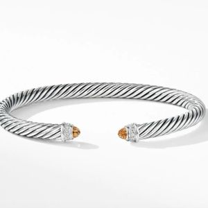 David Yurman Silver Cable classics citrine cuff
